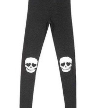 Fashion New Japanese Punk Style Skull Pattern Slim Women Leggings Bottoms