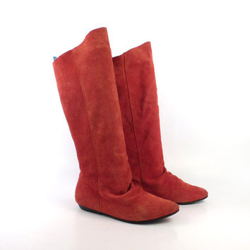 Boots Red Flat Suede Vintage 1980s  Leather Riding  Slouch  Women's size 6
