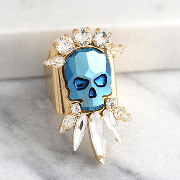 Skull Ring, Skull Punk Ring, Cocktail Ring, Gothic Ring, Sugar Skull Ring, Bridal Ring, Adjustable Swarovski Crystal Ring, Gift For Woman.