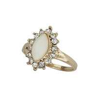 VINTAGE LOOK CREAM STONE MIDI RING