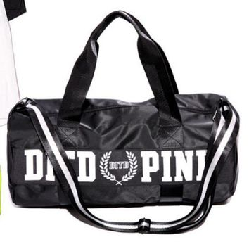 Victoria pink sports fitness yoga package hold-all duffel bag Black white letters