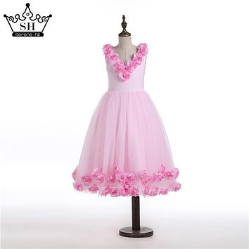 Cloud Flower Girl Dresses Pink Rose Cloud Baby Cloudy Puffy Ball Gown 2017 Flower Girl Dress Plus Size Custom Made