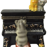 Ceramic Hinge Boxes Cat Playing Piano