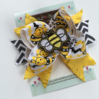 Bumblebee Bow - Sweet as Can Bee - yellow and black sparkle ribbon with bumblebee center by Darling Little Bow Shop
