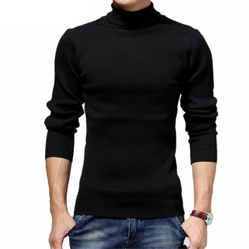 Thick Warm Wool Cashmere Pullover Slim FIt Turtleneck Sweater