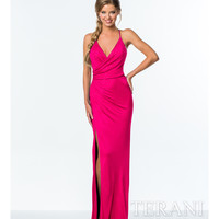 Fuchsia Crystal Embellished Wrap Dress