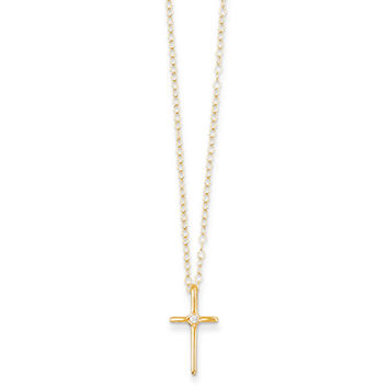 14K Yellow Gold 0.01 CT Diamond Accented Holy Cross Girls Necklace