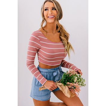 Catch Ya Later Striped Crop Top (Pink/Ivory)