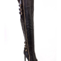 Black Buckle Accents Fall Sexy Thigh High Heel Boots Faux Leather