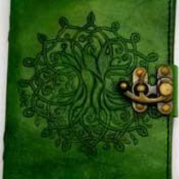 """5"""" X 7"""" Green Tree Of Life Leather W- Latch"""
