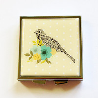 Pill Case, Pill Box, Pill container, Square Pill box, Square Pill case,Bird, Flower, Floral, Polka Dots, Yellow, Mint Container (4368)