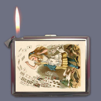 Vintage Alice in Wonderland Cigarette Case Lighter Wallet Business Card Holder
