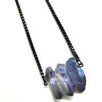 Raw Crystal Necklace. Stainless Steel Necklace. Blue Quartz Crystal Pendant. Titanium Quartz Crystal Jewelry for Her