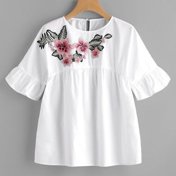 Floral Embroidered Ruffle Sleeve Babydoll Blouse Women 2017 Summer Short Sleeve Blouses Shirts Woman Vintage Tops Blusas Female