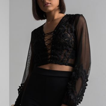 AKIRA Lace Detailing Sheer Crop Top in Black, White, Burgundy