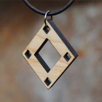 Diamond Laser Cut Wooden Necklace Pendant Geometric