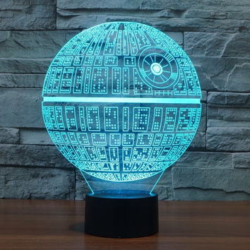 1pcs/set 3D Novelty Light Star Wars Death Star 7 Colors Changing LED Lamp 2016 Luminaria 3D Lights Action Figure Kids Gift Toy