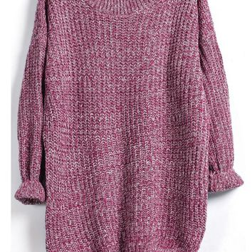 Purple Marled Knit Jumper With A Dip Hem