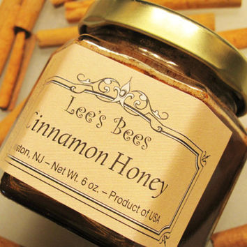 Cinnamon Infused Honey 6 oz. Glass Jar from Lee the Beekeeper - Use as Tea, Spread, Topping, Home Remedy