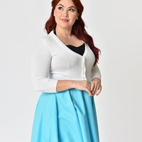 Plus Size White Three-Quarter Sleeved Button Up Knit Crop Cardigan
