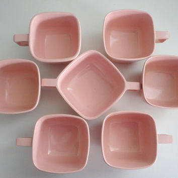 Melmac coffee cups and sugar bowl in PINK mid century from the 1950s