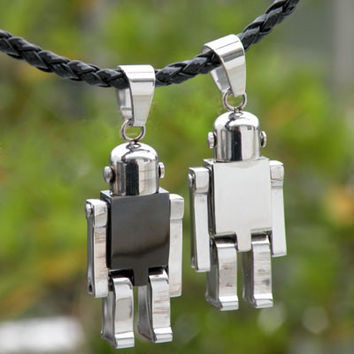 One Pair of Black & Silver Robot Lovers Necklace Pendants
