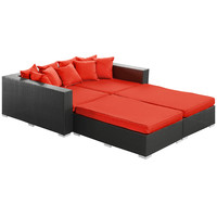 Palisades 4 Piece Outdoor Patio Daybed in Espresso Red
