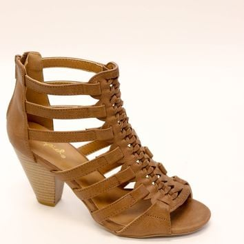 Caged Peep Toe Bootie, Brown