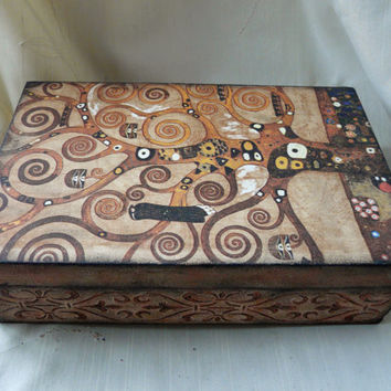 Tree of Life Jewelry Box, Tree Jewelry Box, Klimt Home Decor,  Tree Keepsake Box, Wedding Anniversary Box