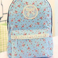 Backpack with Flora Print and Lace from topsales