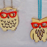 "Hipster Owl Geek Owl Necklace. Wooden Owl Necklace. 16"" Chain."