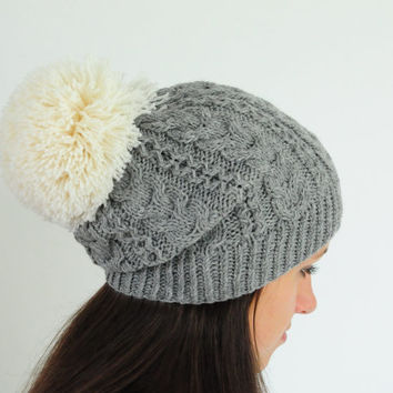 Grey Cable Knit Beanie Hat with huge Pom Pom, Pom Pom Hat, Slouchy Beanie Hat, Knit Pom Pom  Beanie