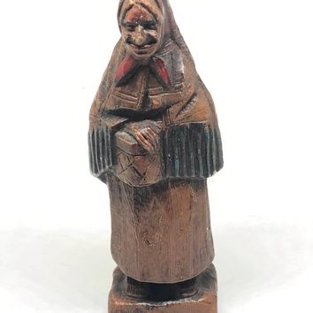 Vintage Folk Art Wood Carved Wood Standing Woman with Shawl Sweden or Canada Carved Wood Trygg Standing Old Woman