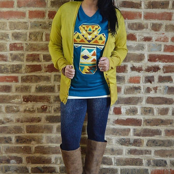 Spicy Mustard Snap Cardigan