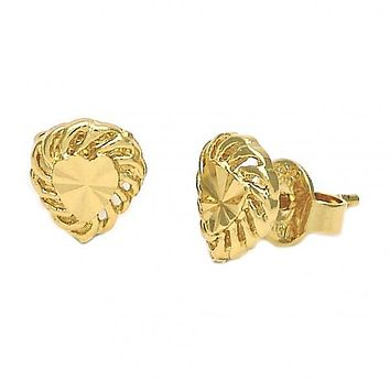 Gold Layered 02.94.0018 Stud Earring, Heart Design, Diamond Cutting Finish, Golden Tone
