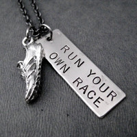 RUN YOUR Own RACE Necklace - Dog Tag Style Pendant with Running Shoe Charm on Gunmetal Chain - Don't Worry About Anyone Else - Runner Race