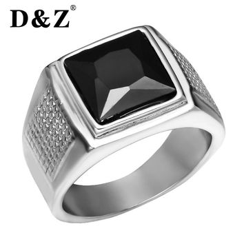 D&Z Punk Square Cubic Zirconia Rings for Men Silver Stainless Steel Freedom Males Heroic Signet Ring Mens Unique Jewelry Gifts