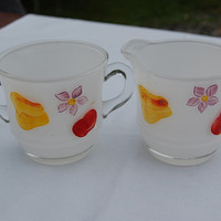 vintage frosted hand painted glass sugar and creamer set