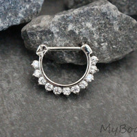 Septum Ring, Septum Jewelry, Daith Earrings, Daith Ring, Daith Clicker, Conch Hoop, Conch Ring, Helix Hoop, Helix Ring Silver 16G 16 Gauge
