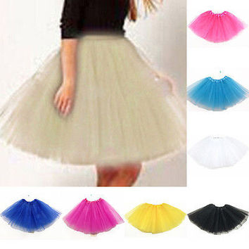 Women Fashion Elastic Stretch Tulle Skirts Party Dance Layer Adult Tutu Skirt