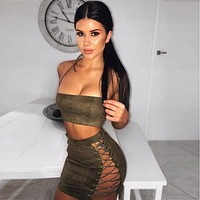 New Sexy Women Bandage Summer Skirt Clothes Sets Halter Crop Tops +Lace Up Bandage Hot Skirts 2 Piece Summer Party Club Wear