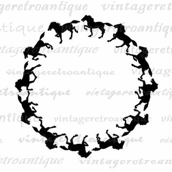 Horse Silhouette Circle Design Digital Graphic Printable Image Download Vintage Clip Art Jpg Png Eps  HQ 300dpi No.4294