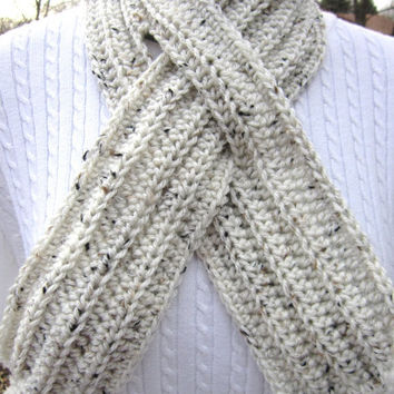 Crochet Ribbed Neckwarmer with Slit, Tweed Neckwarmer, Tan with Nature Colored Specks