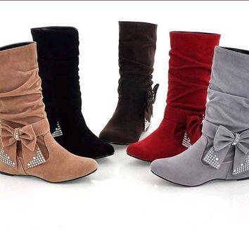 Womens fashion Vintage Bow booties heels Suede Mid Calf Boots Ladies Flats Hippie Winter Shoes increase in the stylish flat matt