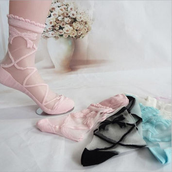 Beautiful Bowknot Sheer Mesh Bow Knit Frill Trim Transparent Ankle Socks Lady Girl Gift = 1958337540