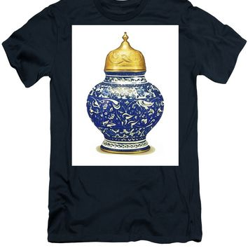 An Ottoman Iznik Style Floral Design Pottery Polychrome, By Adam Asar, No 9a - Men's T-Shirt (Athletic Fit)