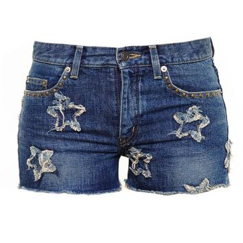 Denim Shorts with Distressed Stars - SAINT LAURENT