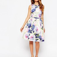 Warehouse Neon Floral Prom Dress