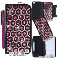 ZEBRA or LEOPARD Crystal Jersey Bling® Faux Leather iPhone 5, 5s Handmade Case Wallet w/Cards & ID Slot & Magnetic Closure (Pink Leopard)
