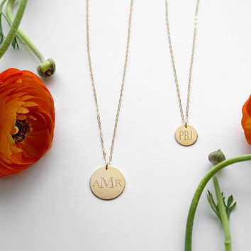 Engraved Monogram Necklace - 14k Gold Filled